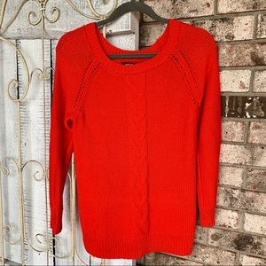 Apt. 9 Orange Cable Knit Heavy Crew Neck Sweater